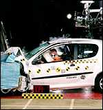 Crash test dummies after head-on impact